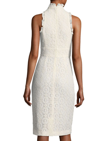 Giana Lace Appliqué Keyhole Ruffle Dress