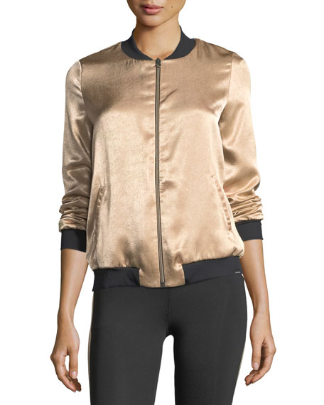 Base Crepe Back Satin Bomber Jacket