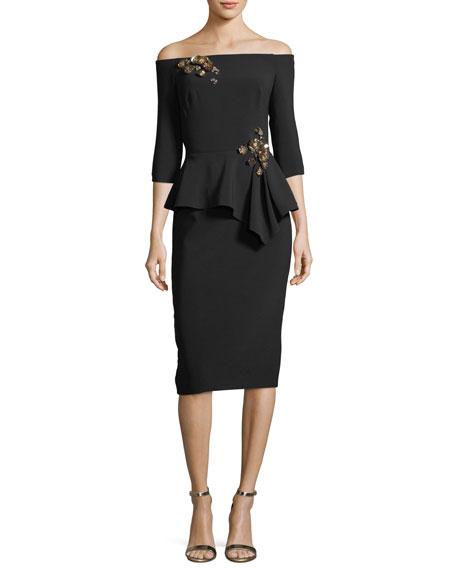 Off-the-Shoulder Embellished Peplum Cocktail Dress