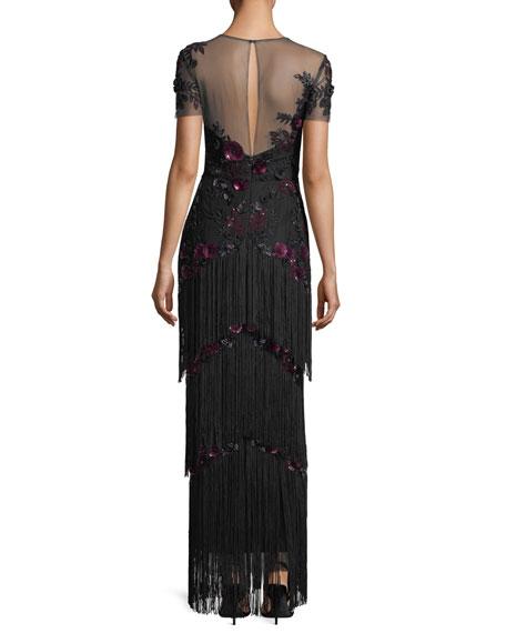 Short-Sleeve Illusion Fringe Column Gown