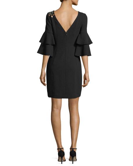Exotic Bloom 3/4-Sleeve Dress