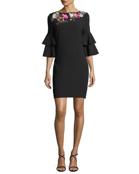 Trina Turk Exotic Bloom 3/4-Sleeve Dress