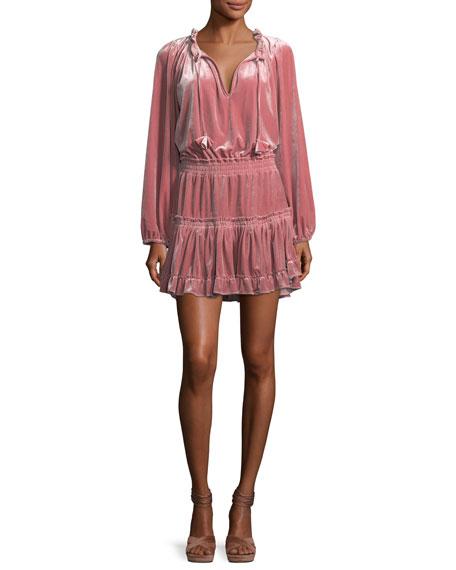 Lorena Split-Neck Long-Sleeve Velvet Dress
