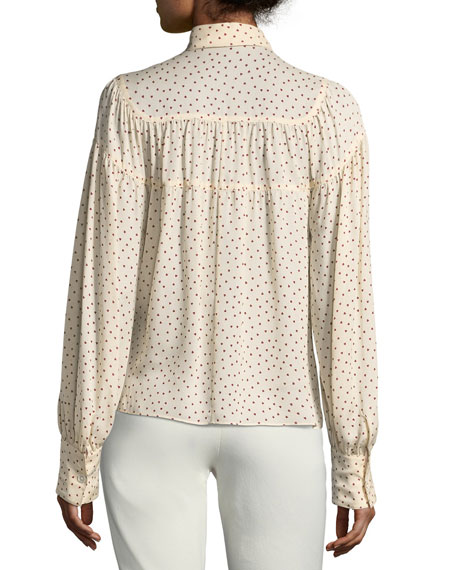 Crosby Tie-Front Heart-Print Blouse