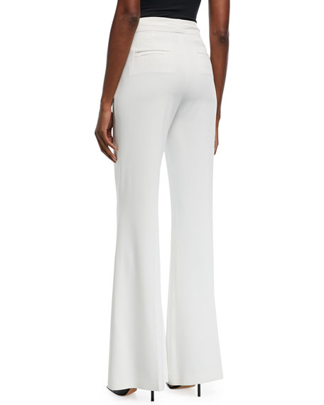 Dylan High-Waist Wide-Leg Pants w/ Pintucking