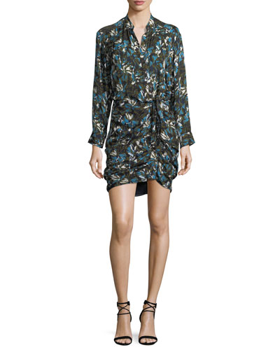 Georgina Button-Front Printed Silk Dress