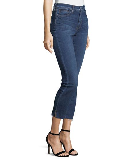 Nicoline Slim Skinny-Leg Cropped Jeans w/ Slit
