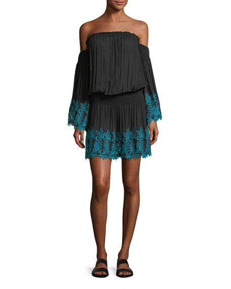 Zena Off-the-Shoulder Eyelet Embroidered Short Dress