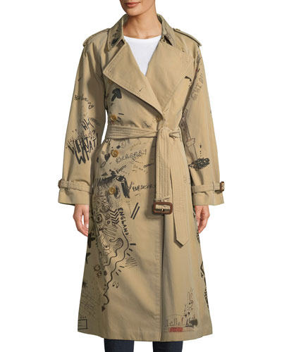 Doodle-Print Cotton Trench Coat