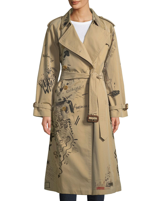 Burberry Doodle-Print Cotton Trench Coat   Neiman Marcus 84e05359beb