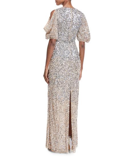 Luna Cold-Shoulder Sequin Gown