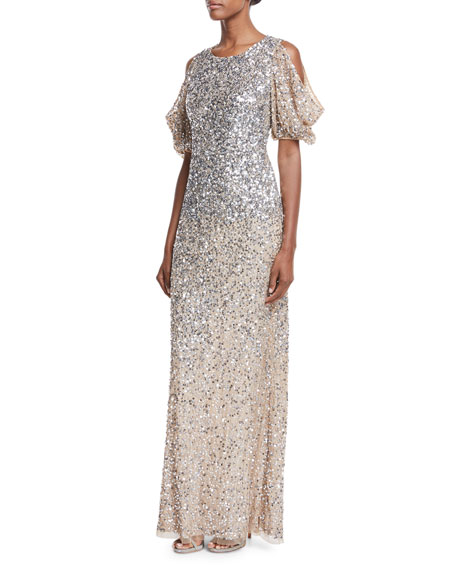 Luna Cold-Shoulder Sequin Gown