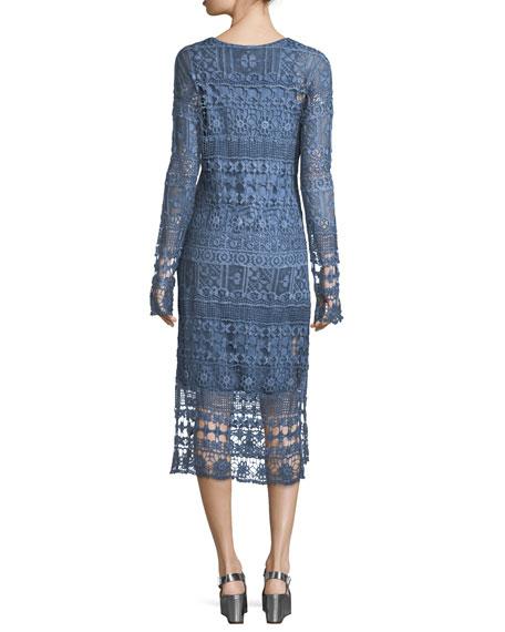 Fonda Crochet Long-Sleeve Midi Dress, Plus Size