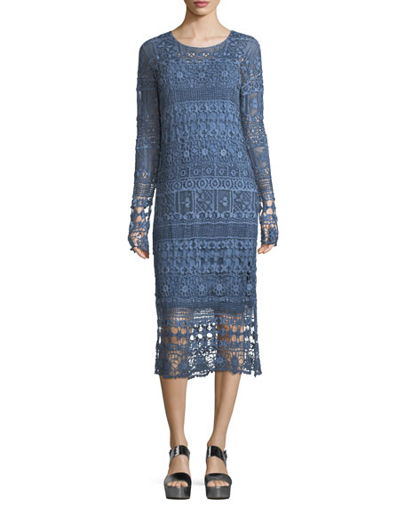 Fonda Crochet Long-Sleeve Midi Dress, Plus Size