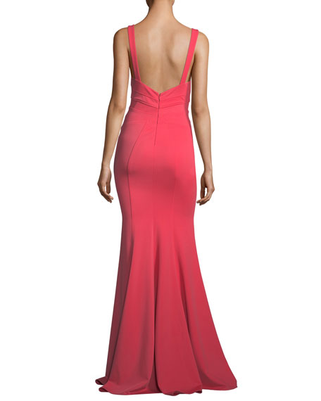 Keira Scoop-Neck Square-Back Mermaid Gown