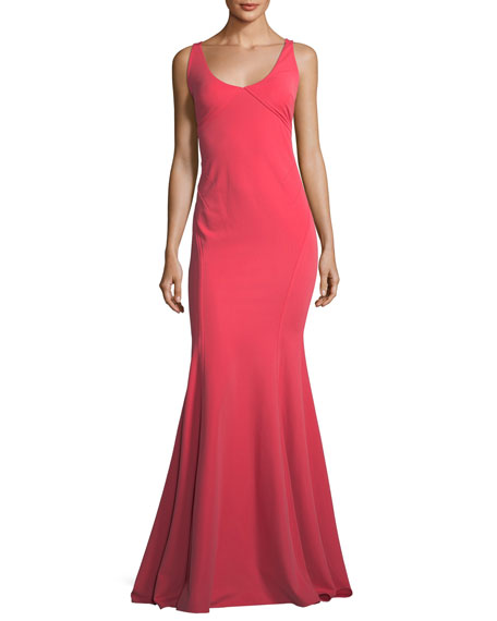 ZAC Zac Posen Keira Scoop-Neck Square-Back Mermaid Gown