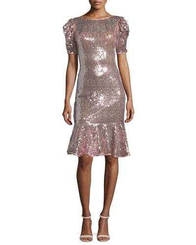 Short-Sleeve Sequin Flounce Dress