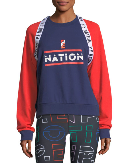 PE Nation The Wembley Raglan Colorblocked Sweatshirt