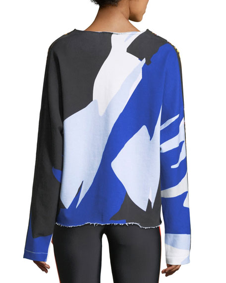 Power Shot Graphic Colorblocked Sweatshirt with Raw-Edges