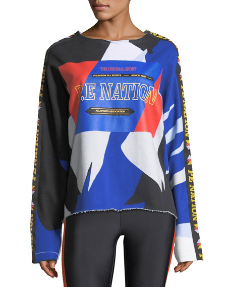PE Nation Power Shot Graphic Colorblocked Sweatshirt with