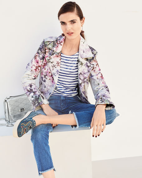 Leather Watercolor Floral Motorcycle Jacket