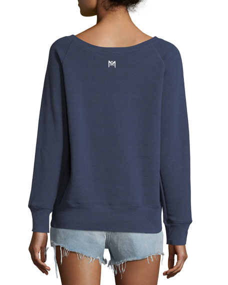 Salty Boat-Neck Pullover Sweatshirt