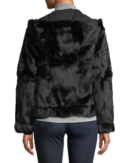 Hooded Zip-Front Fur Jacket