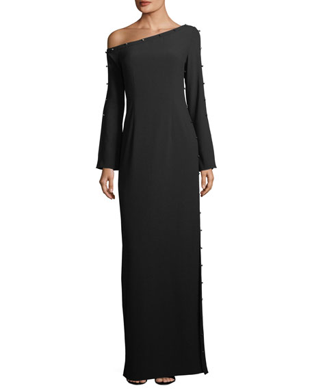 Louise Metallic Stud One-Shoulder Gown, Black