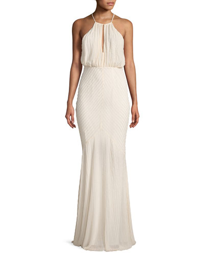 Marianne Beaded Long-Sleeve Cold-Shoulder Cocktail Dress