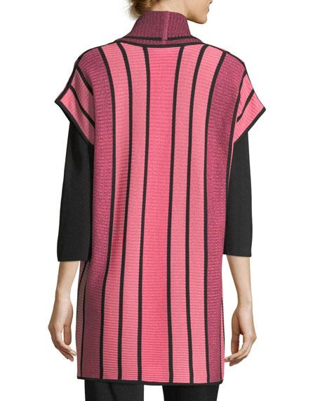 Striped Long Cardigan, Plus Size