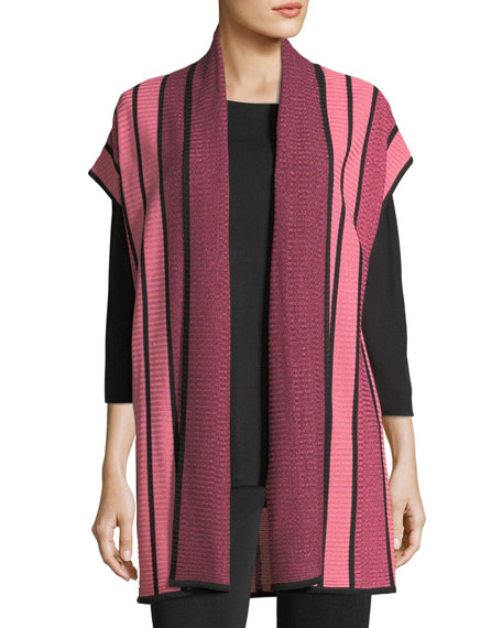 Striped Long Cardigan, Plus Size