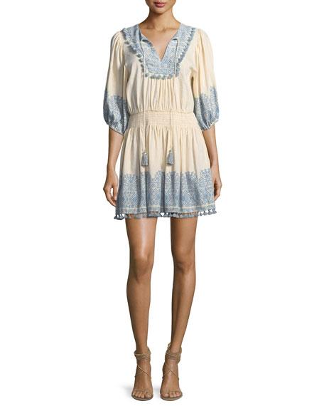 Zimmermann Helm Split-Neck Half-Sleeve Short Coverup Dress