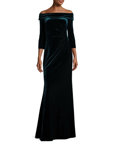 Off-the-Shoulder Stretch Velour Gown, Slate