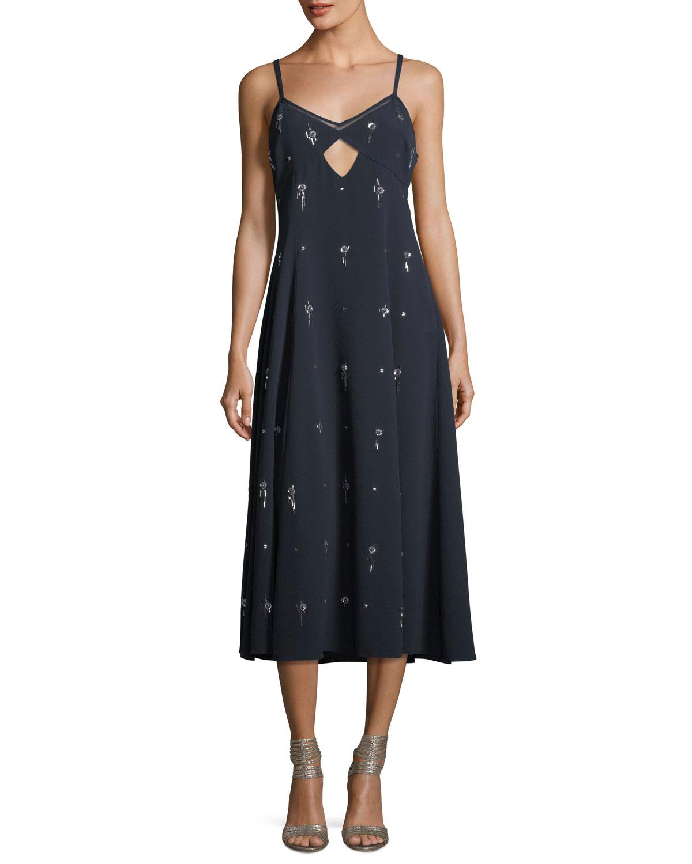V Neck Sleeveless Embellished Cami Midi Dress