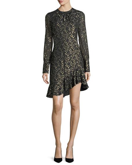 Long-Sleeve Metallic Ruffle-Hem Short Dress
