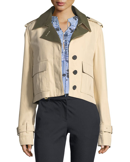 Derek Lam 10 Crosby Short Button-Front Anorak Jacket