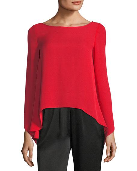 Ramy Brook Violet Long-Sleeve Silk Top