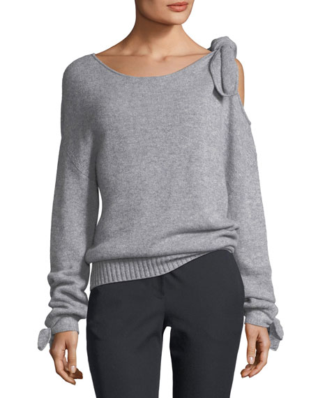 Long-Sleeve Cashmere Sweater with Tie-Detail