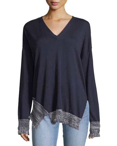 Derek Lam 10 Crosby V-Neck Long-Sleeve Silk-Blend Pullover
