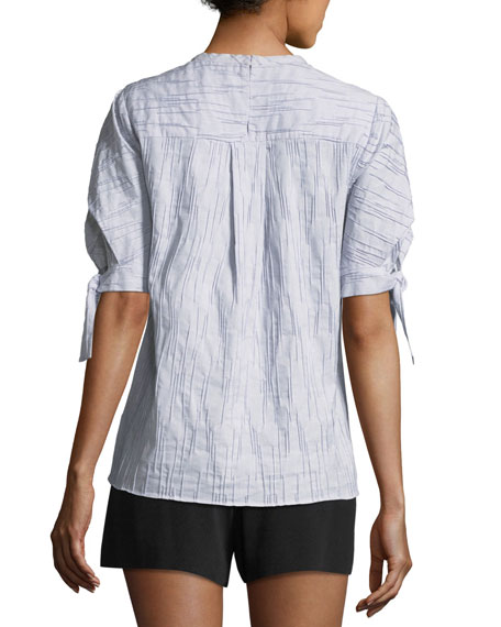 Short-Sleeve Crewneck Fine-Striped Top with Tie-Detail