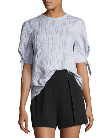 Derek Lam 10 Crosby Short-Sleeve Crewneck Fine-Striped Top