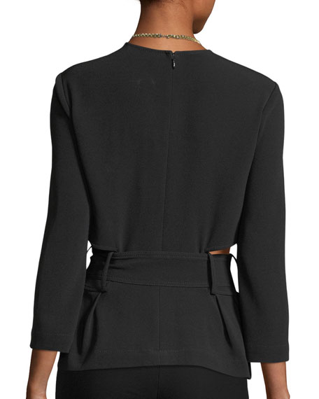 Long-Sleeve Belted Crepe Top