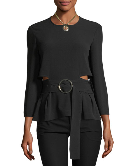 Derek Lam 10 Crosby Long-Sleeve Belted Crepe Top