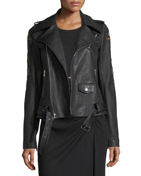 A.L.C. Benson Leather Moto Jacket with Floral-Embroidery and