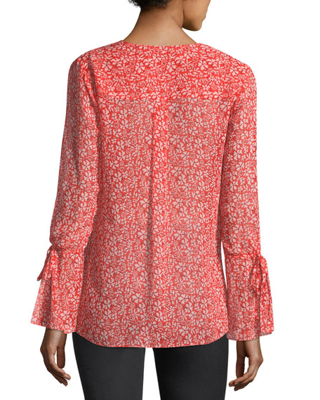 Long-Sleeve Floral-Print Silk Chiffon Blouse