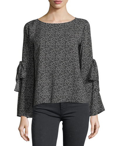 Round-Neck Printed Challis Top
