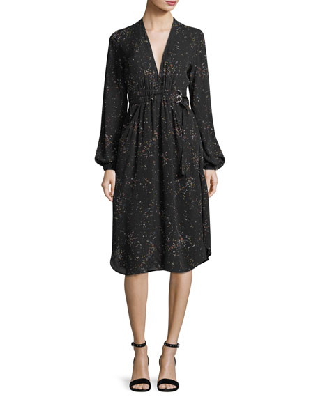 A.L.C. Samantha Deep-V Long-Sleeve Silk Midi Dress
