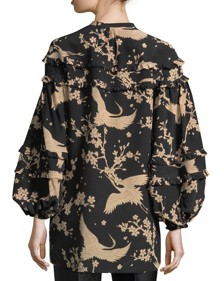 Button-Front Printed Blouson-Sleeve Silk Blouse