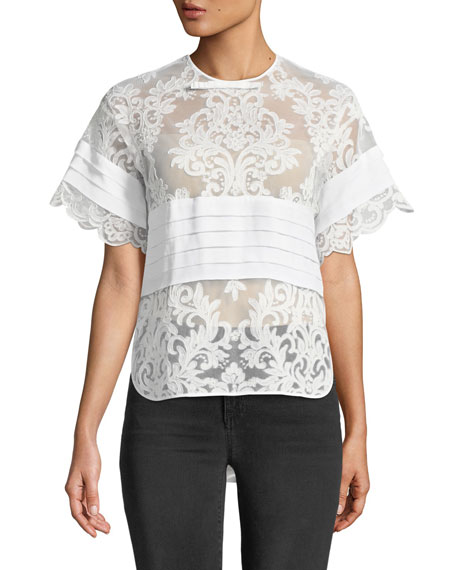 No. 21 Short-Sleeve Lace Top