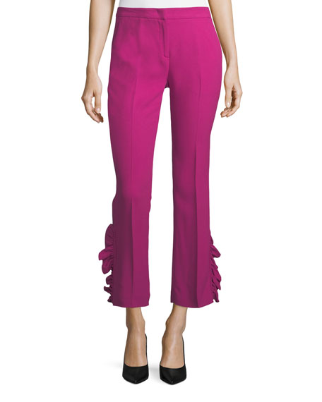 Straight-Leg Ankle Pants With Side Ruffles in Pink